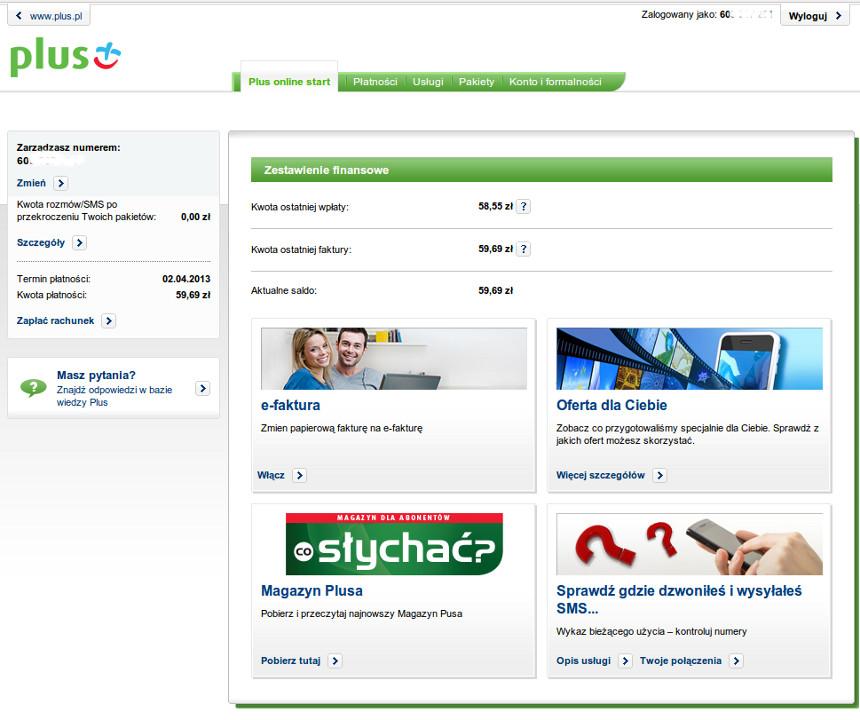 Plus Online Rachunek Szczeg Owy Oferta W Plusie